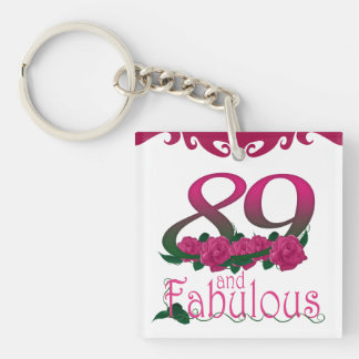 89th Birthday pink flower photo floral keychain