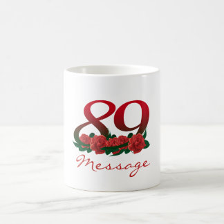 89th custom text name number birthday floral coffee mug