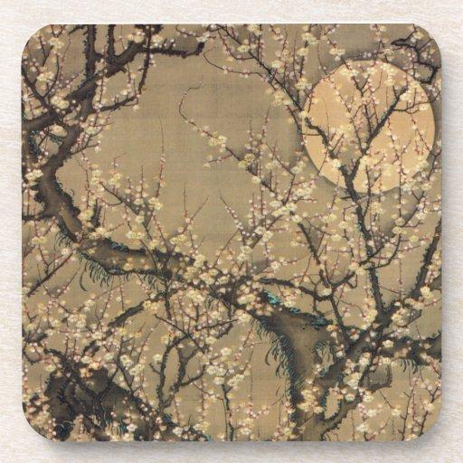 8. 梅花晧月図, 若冲 Moon and Plum blossoms, Jakuchū Beverage Coaster