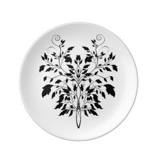 "8.5"" Swirl Leaf Porcelain Plate"