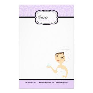 "8.5"" x 5.5"" Stationary Sheets - Purple Damask Spa Stationery"