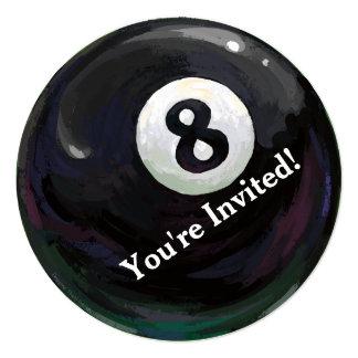 8 Ball Art Birthday Party Round Invitation