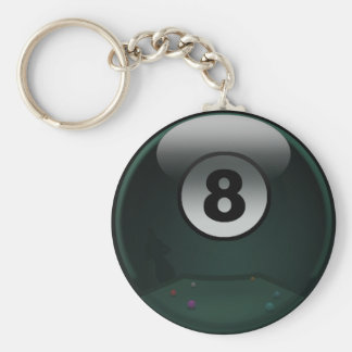 8-Ball Basic Round Button Key Ring
