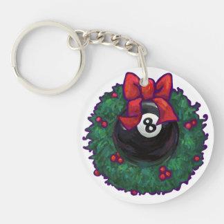 8 Ball Christmas Single-Sided Round Acrylic Key Ring