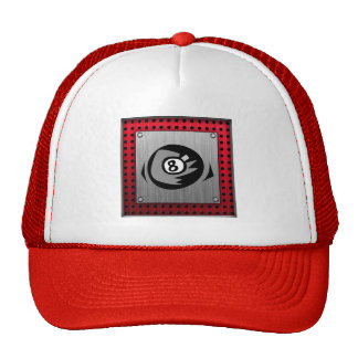 8 ball Faux Brushed Aluminum Red Trucker Hats