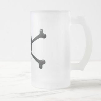 8-ball Pirate Frosted Glass Beer Mug