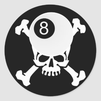 8 ball skull round sticker