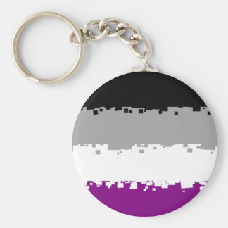 8 Bit Asexual Pride Flag Basic Round Button Key Ring