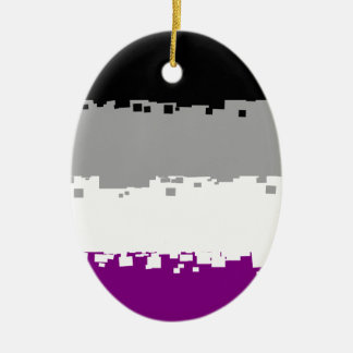 8 Bit Asexual Pride Flag Ceramic Oval Decoration