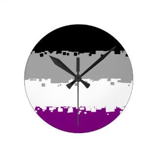 8 Bit Asexual Pride Flag Clock