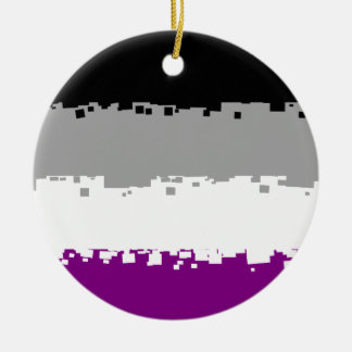 8 Bit Asexual Pride Flag Round Ceramic Decoration