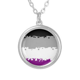 8 Bit Asexual Pride Flag Round Pendant Necklace