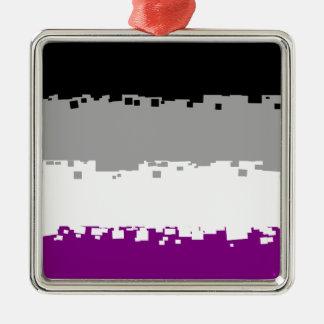8 Bit Asexual Pride Flag Silver-Colored Square Decoration