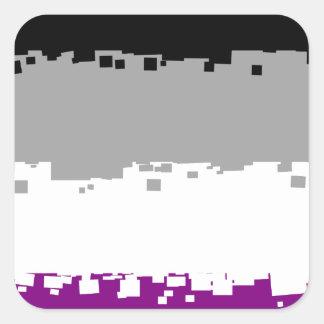 8 Bit Asexual Pride Flag Square Sticker