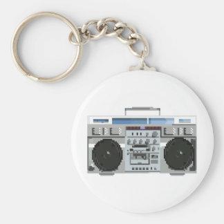 8-bit Boom Box Basic Round Button Key Ring
