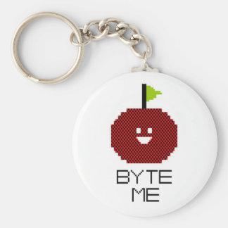 8-Bit Byte Me Cute Apple Pixel Art Basic Round Button Key Ring