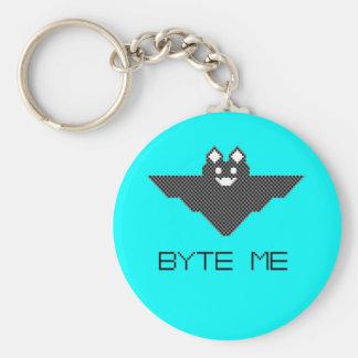 8-Bit Byte Me Cute Vampire Bat Pixel Art Basic Round Button Key Ring