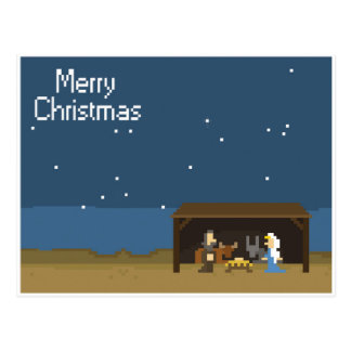 8-Bit Christmas Nativity Scene Postcard