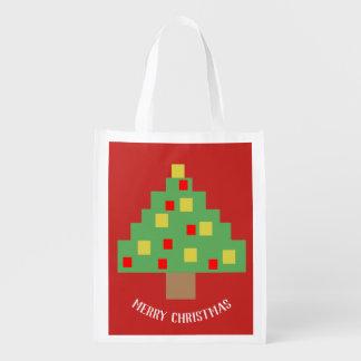 8 bit Christmas retro Reusable Grocery Bag