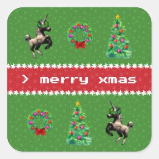 """8-Bit Christmas"" Square Sticker Sheet (Green)"