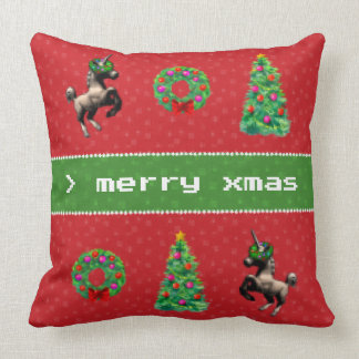 """""""8-Bit Christmas"""" Square Throw Pillow (Red)"""
