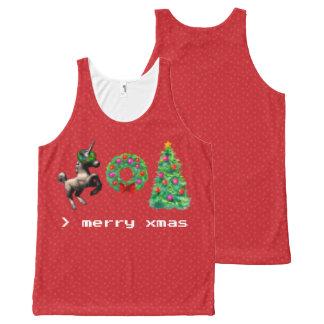 """8-Bit Christmas"" Unisex Tank Top (Red)"