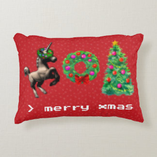 """""""8-Bit Christmas"""" Xmas Accent Pillow (Red)"""