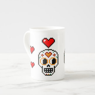 8-Bit Day of the Dead Lovers Skull Heart Mug