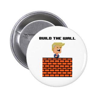 "8-Bit Donald Trump ""Build the Wall"" Button"