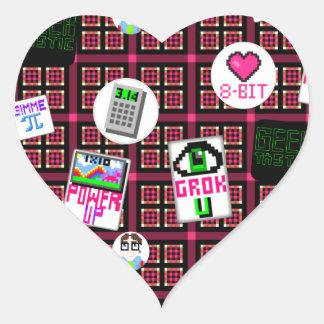 8 Bit Geek Heart Sticker