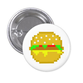 8 Bit Hamburger 3 Cm Round Badge