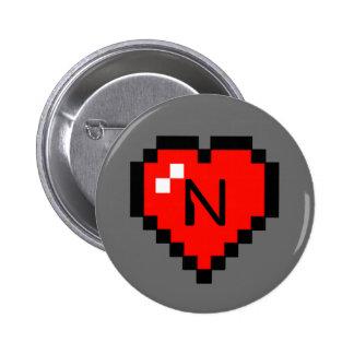 8 - Bit Heart (Full) 6 Cm Round Badge