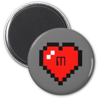 8 - Bit Heart (Full) 6 Cm Round Magnet