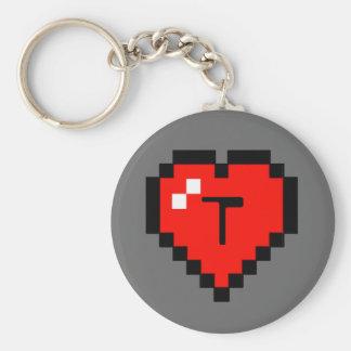 8 - Bit Heart (Full) Basic Round Button Key Ring