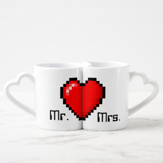 8 Bit Heart Gamer Couple Coffee Mugs