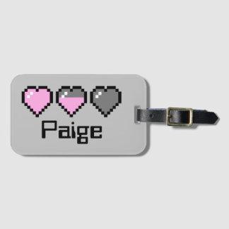 8- bit Heart Meter - Pink Bag Tag