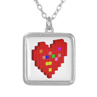8-Bit Heart Silver Plated Necklace