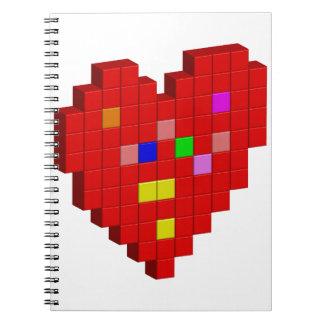 8-Bit Heart Spiral Notebook