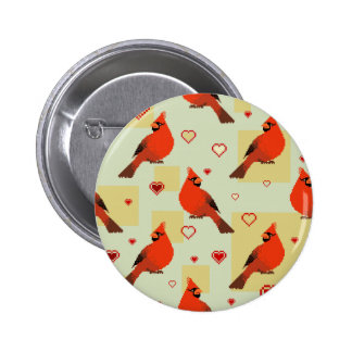 8-bit Hearts and Cardinals Pattern 6 Cm Round Badge