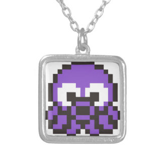 8 Bit Octopus Silver Plated Necklace