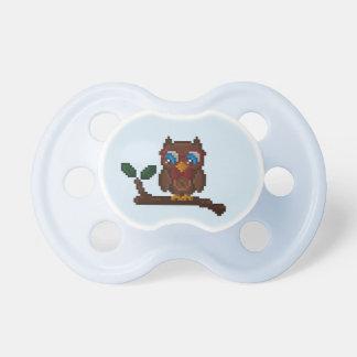 8-Bit Owl Baby Pacifier - Blue