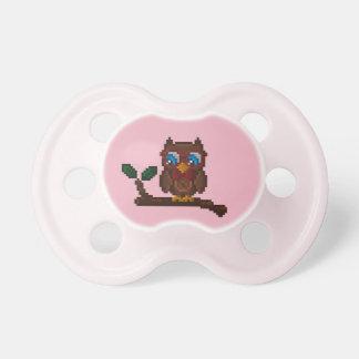 8-Bit Owl Baby Pacifier - Pink