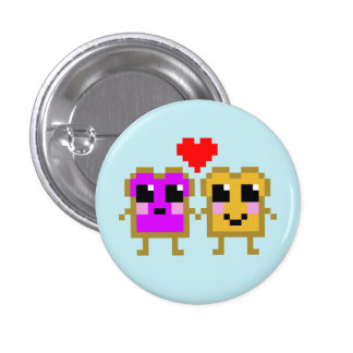 8 Bit Peanut Butter and Jelly 3 Cm Round Badge