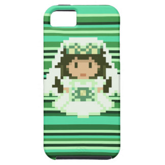 8-bit Pixel Bride Green Stripes iPhone 5 Covers