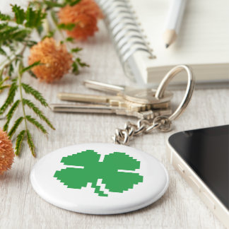 8 Bit Pixel Lucky Four Leaf Clover Basic Round Button Key Ring