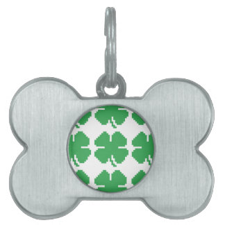 8 Bit Pixel Lucky Four Leaf Clover Pet ID Tags