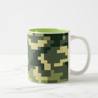 8 Bit Pixel Woodland Camouflage / Camo Two-Tone Mug