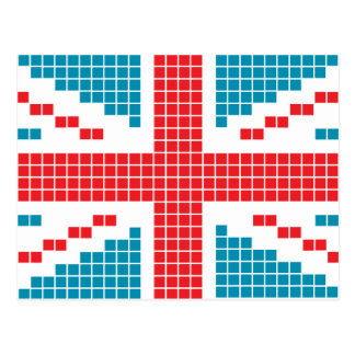 8-bit Pixels Union Jack British(UK) Flag Post Card