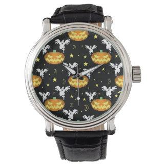 8-bit Pumpkin Ghost Pattern Wrist Watch