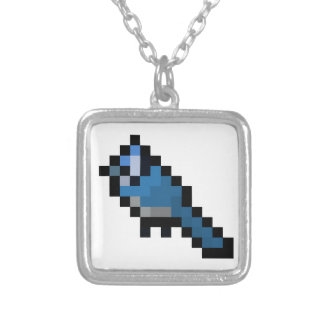 8-Bit Retro Bluejay Silver Plated Necklace